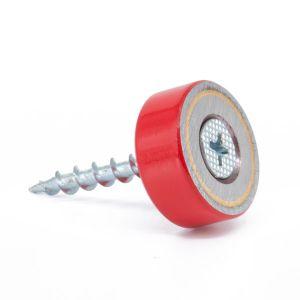 AlNiCo magnet med festehull Ø 19 x 8 mm, tåler 450°C