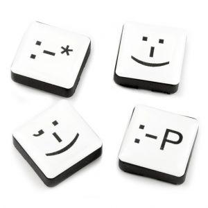 Kjøleskapsmagneter - sett med 4 hvite emotikoner, smiley