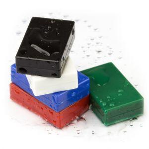 Plastbelagte blokk magneter, 5 stk, flere fargevarianter