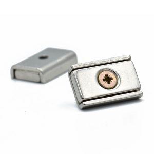 Magnet 20 x 13,5 mm forsterket i U-profil, skruehull