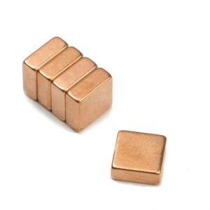 Blokk magnet 10 x 10 x 4 mm, belagt med kobber