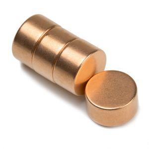 Kobber-belagt neodym disk magnet Ø 15 x 8 mm
