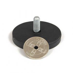 Gummiert magnet Ø 43 mm, utvendig gjenge, Sort
