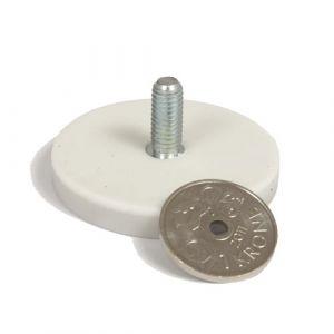 Gummiert magnet Ø 43 mm, utvendig gjenge, Hvit