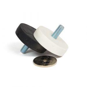 Gummiert magnet Ø 34 mm med utvendig gjenge