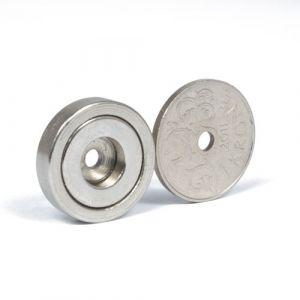 Forsterket magnet med monteringshull, Ø 20 x 4,5 mm