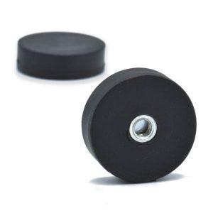 Gummibelagt magnet Ø 22 mm, gjenget hull M4