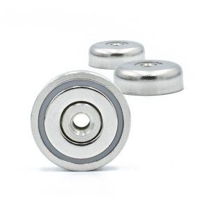 Magnet Ø 20 x 7 mm med gjennomgående hull M4
