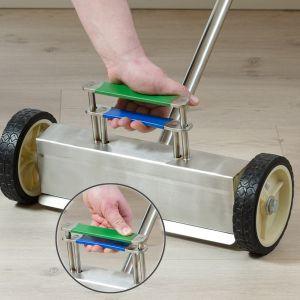 Robust magnetkost 350 mm med store hjul, rustfri