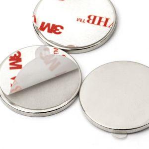 Sett av 10 store selvklebende magneter Ø 25 x 2 mm
