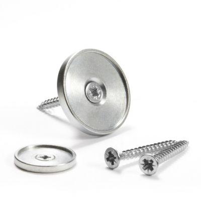 Metallskive Ø 17 mm med skruehull og forhøyet kant