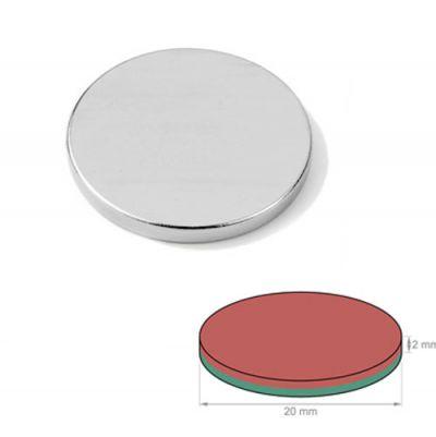 Supersterk diskmagnet Ø 20 x 2 mm N52