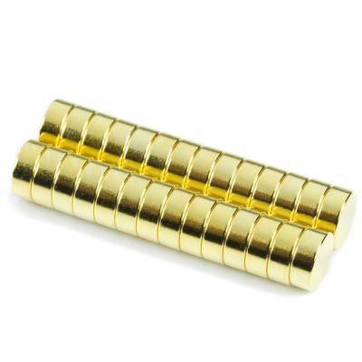 Diskmagnet Ø 8 x 3 mm, gull