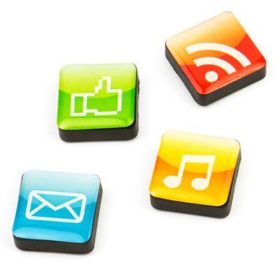 Kjøleskapsmagneter - mobilapper, ikoner 4 stk.