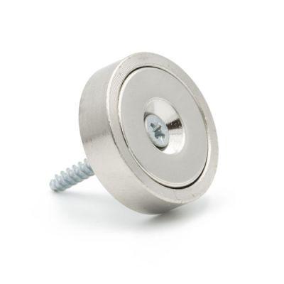 Forsterket magnet Ø 25 mm med monteringshull