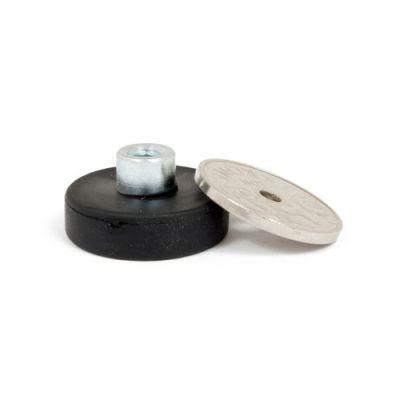 Gummiert magnet Ø 22 mm med innvendig gjenge