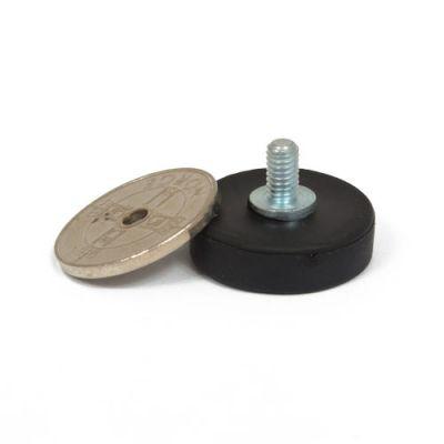 Gummiert magnet Ø 22 mm med utvendig gjenge