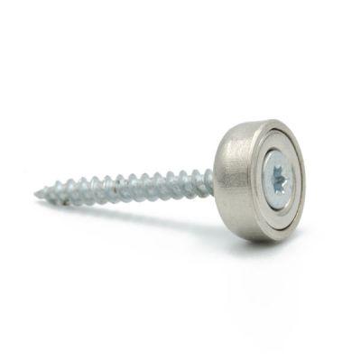 Forsterket magnet Ø 12 x 5 mm, forsenket skruehull