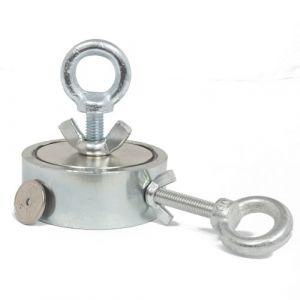 Kraftig magnet Ø 75 mm + 20m tau + hanske