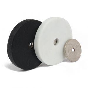 Gummiert magnet Ø 43 mm med gjennomgående hull