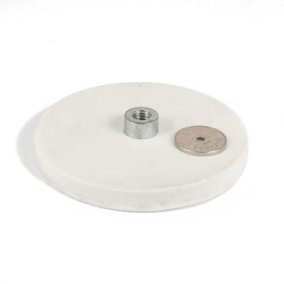 Gummiert magnet Ø 88 mm, innvendig gjenge M8