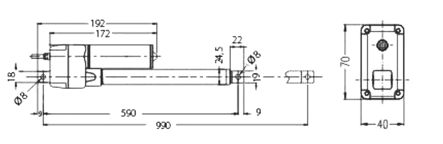 Allsidig aktuator 24V 400mm 1000N - dimensjoner