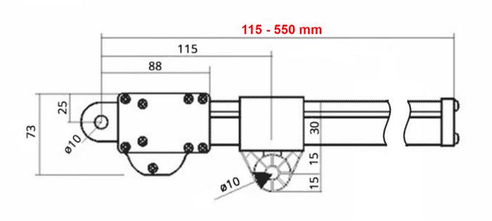Kompakt aktuator- dimensjoner