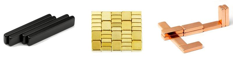 Belagte magneter - gull, eposy, brass, gummi